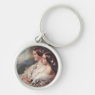 Victoria and her cousin, 1852 Silver-Colored round keychain