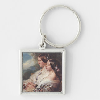 Victoria and her cousin, 1852 Silver-Colored square keychain
