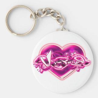 Victoria Basic Round Button Keychain