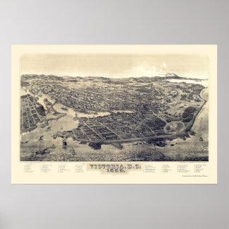 Victoria, BC, Canada Panoramic Map - 1889 Print