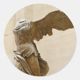 Victoria coa alas de Samothrace Pegatina Redonda