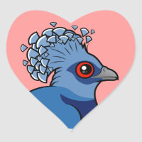 Victoria Crowned Pigeon Heart Sticker