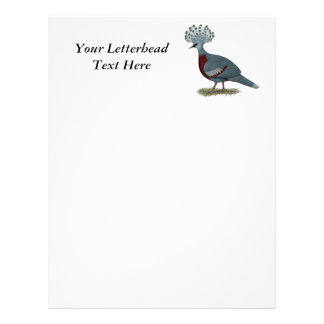 Victoria Crowned Pigeon Customized Letterhead