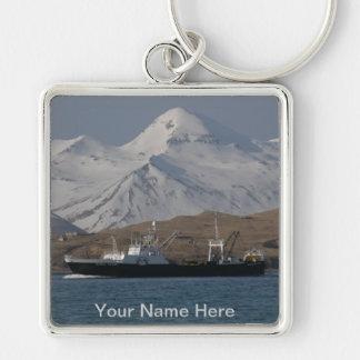 Victoria de Alaska, barco rastreador de fábrica de Llavero Cuadrado Plateado