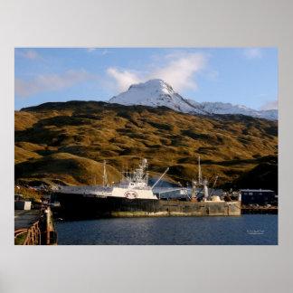 Victoria de Alaska, pescando el barco rastreador e Póster
