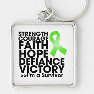 Victoria de la fuerza de la esperanza del linfoma  llavero cuadrado plateado