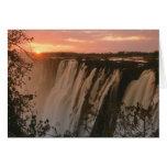 Victoria Falls with sun on horizon, Victoria Greeting Card