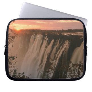 Victoria Falls with sun on horizon, Victoria Laptop Sleeve