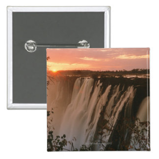 Victoria Falls with sun on horizon, Victoria Pinback Button