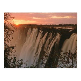 Victoria Falls with sun on horizon, Victoria Postcard
