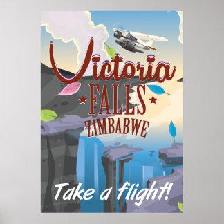 Victoria Falls Zimbabwe cartoon poster