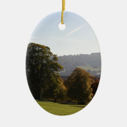 Victoria Park Bath England Double-Sided Oval Ceramic Christmas Ornament