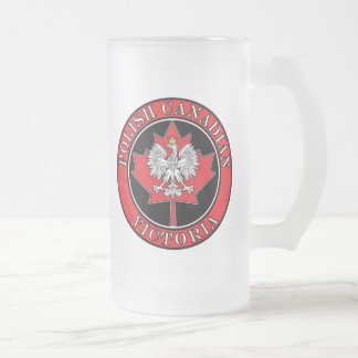 Victoria Round Polish Canadian Leaf Frosted Glass Beer Mug
