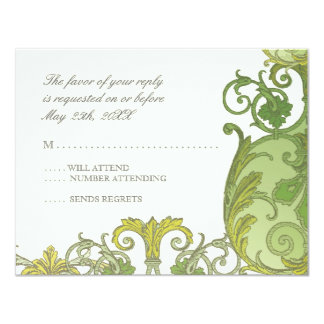 Victoria RSVP Response Card - Lime Green Announcement