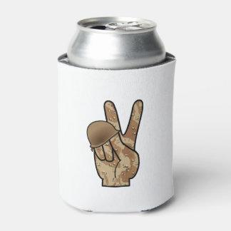Victoria/signo de la paz de la mano del camuflaje enfriador de latas