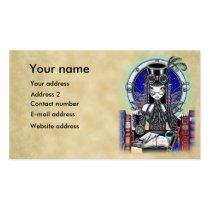 steam, punk, faerie, victoria, myka, jelina, fantasy, art, fairy, faery, fairies, fae, gothic, top, hat, goggles, book, lab, clocks, crystal, ball, spells, magic, characters, Business Card with custom graphic design