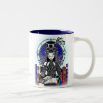 steam, punk, faerie, victoria, myka, jelina, fantasy, art, fairy, faery, fairies, fae, gothic, top, hat, goggles, book, lab, clocks, crystal, ball, spells, magic, characters, Mug with custom graphic design