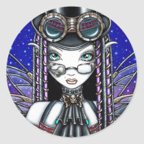 steam, punk, faerie, victoria, myka, jelina, fantasy, art, fairy, faery, fairies, fae, gothic, top, hat, goggles, book, lab, clocks, crystal, ball, spells, magic, fine art, Sticker with custom graphic design