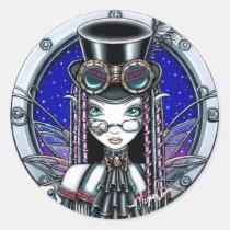 steam, punk, gothic, myka, jelina, victoria, top, hat, fantasy, faery, fairy, fae, faerie, fairies, books, watch, lab, art, faeries, Sticker with custom graphic design