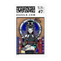 steam, punk, gothic, clock, watch, books, port, hole, top, hat, fairy, faery, fae, faerie, fairies, fantasy, victorian, couture, art, myka, jelina, victoria, lab, crystal, ball, magical, magic, Stamp with custom graphic design