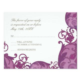 Victoria Swirl RSVP Response Card - Plum Purple