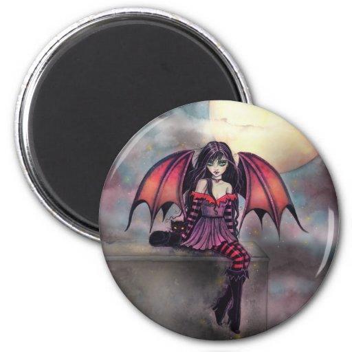Victoria Vampire Fairy with Cat Halloween Art Fridge Magnets