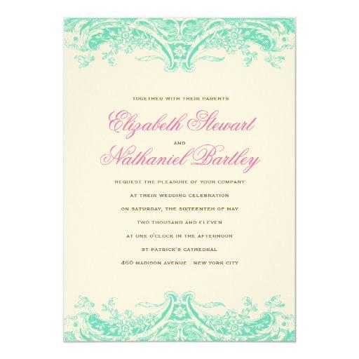 Victoria Wedding Invitation in Teal