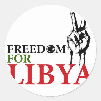 Victoria y libertad para Libia Pegatina Redonda