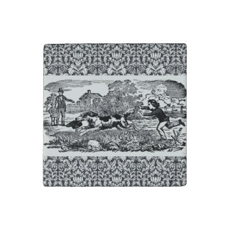Victorian 1800s book illustration pet print stone magnet