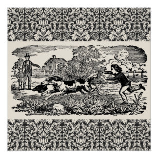 Victorian 1800s book illustration pet print poster