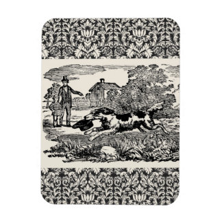 Victorian 1800s book illustration pet print rectangle magnet
