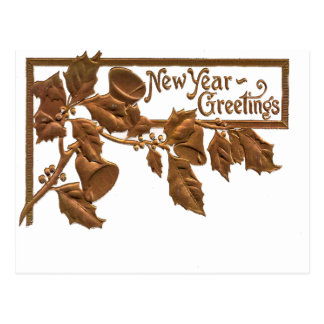 Victorian 1909 Golden Holly New Year Greetings Postcard