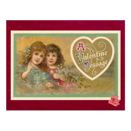 Victorian A Valentine Message 2 Girls Postcard