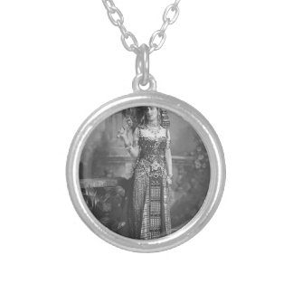 Victorian Ancient Egyptian Costume Silver Plated Necklace
