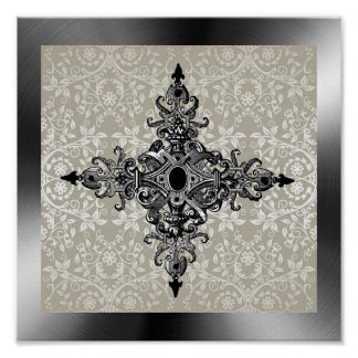 Victorian And Damask Poster