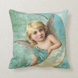 Victorian Angel and Moon Throw Pillow