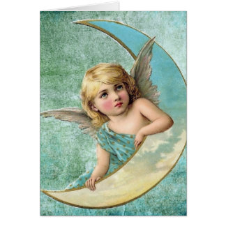 Victorian Angel and Moon Vintage Illustration Greeting Card