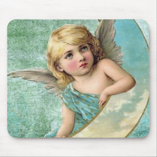 Victorian Angel and Moon Vintage Illustration Mouse Pad