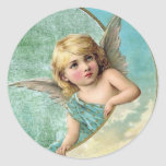 Victorian Angel and Moon Vintage Illustration Sticker