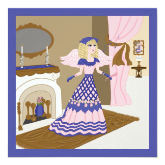 Victorian Angel Blue and Pink Singing by Fireplace Card