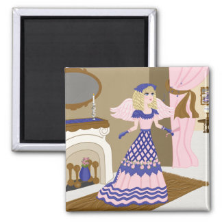 Victorian Angel Blue and Pink Singing by Fireplace Fridge Magnet