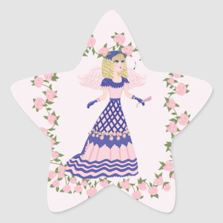 Victorian Angel Blue and Pink Singing by Fireplace Sticker