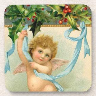 Victorian Angel Cherub Christmas Holly Leaves Coaster