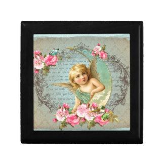 Victorian Angel vintage blue rose pink antique Jewelry Box