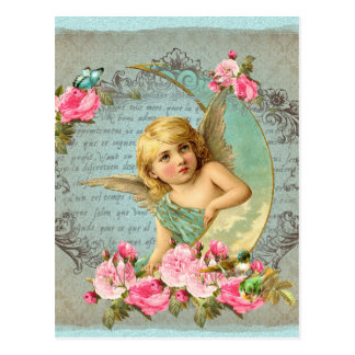 Victorian Angel vintage blue rose pink antique Postcard