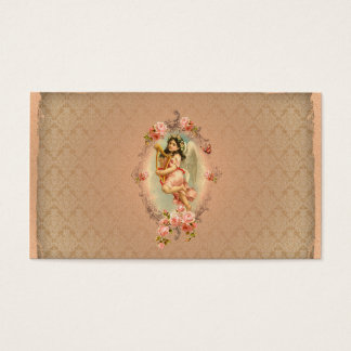 Victorian Angel vintage historical roses ornament Business Card