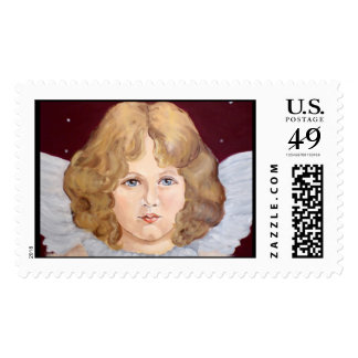 Victorian angel with wings postage stamps