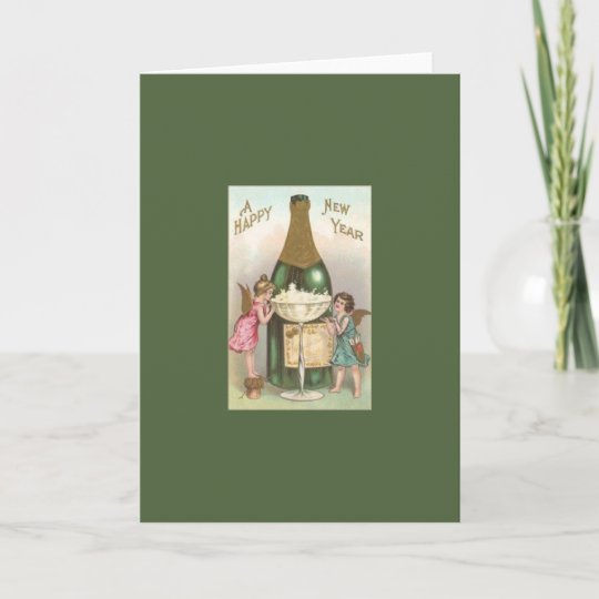 victorian angels and champagne new year card