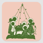 Victorian angels and Jesus silhouettes Square Stickers