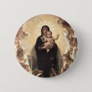 Victorian Angels, Regina Angelorum by Bouguereau Pinback Button